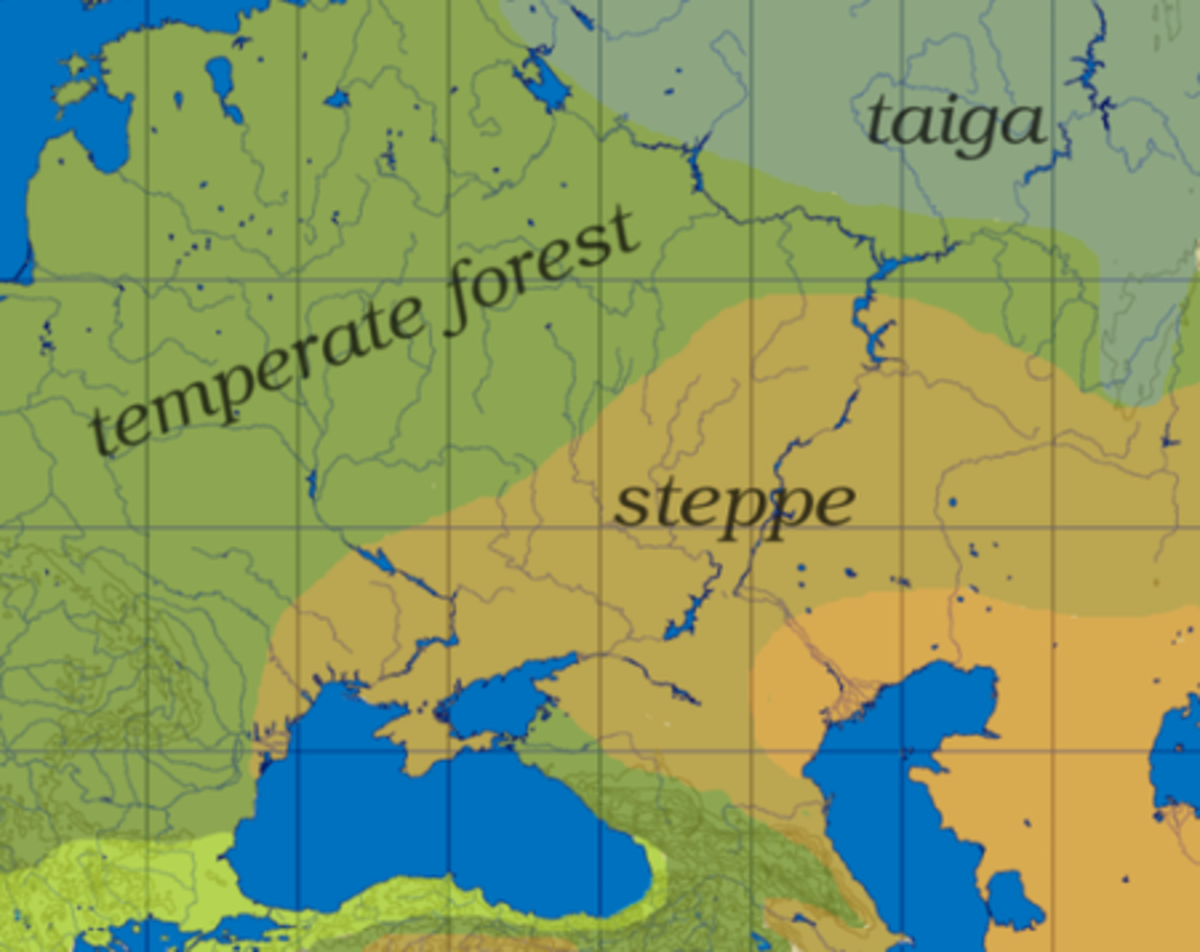 The Yellow area shows the steppe on which the Indo-European peoples are believed to have lived.