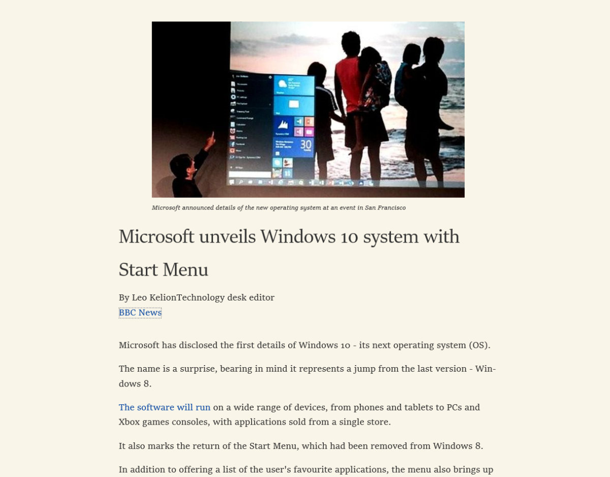 The Reading View in Microsoft Edge cleans up websites for easier reading