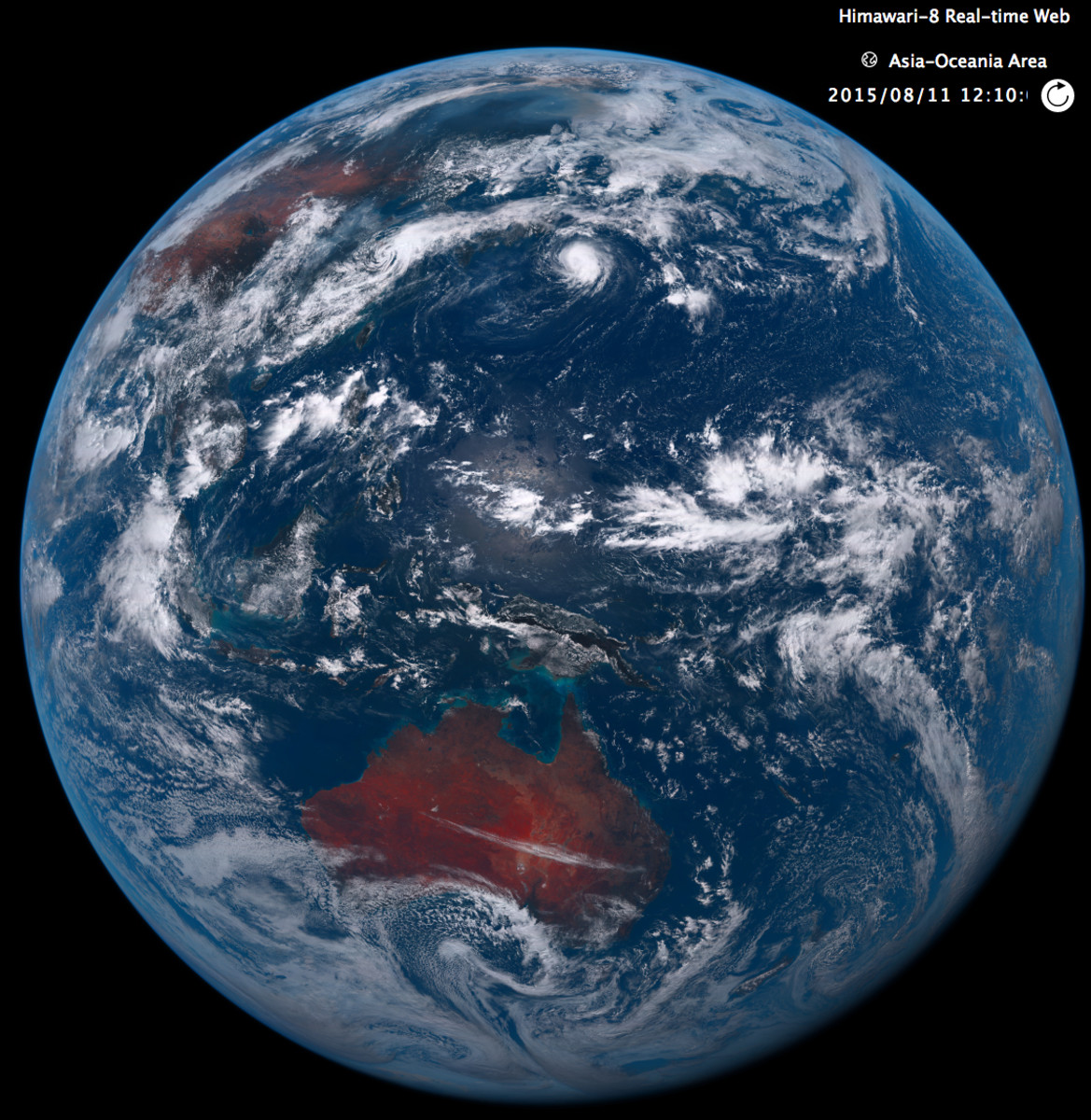 Japan's new Himawari-8 weather satellite takes many realtime images every day. Check the link and zoom in — the resolution is far better than this!