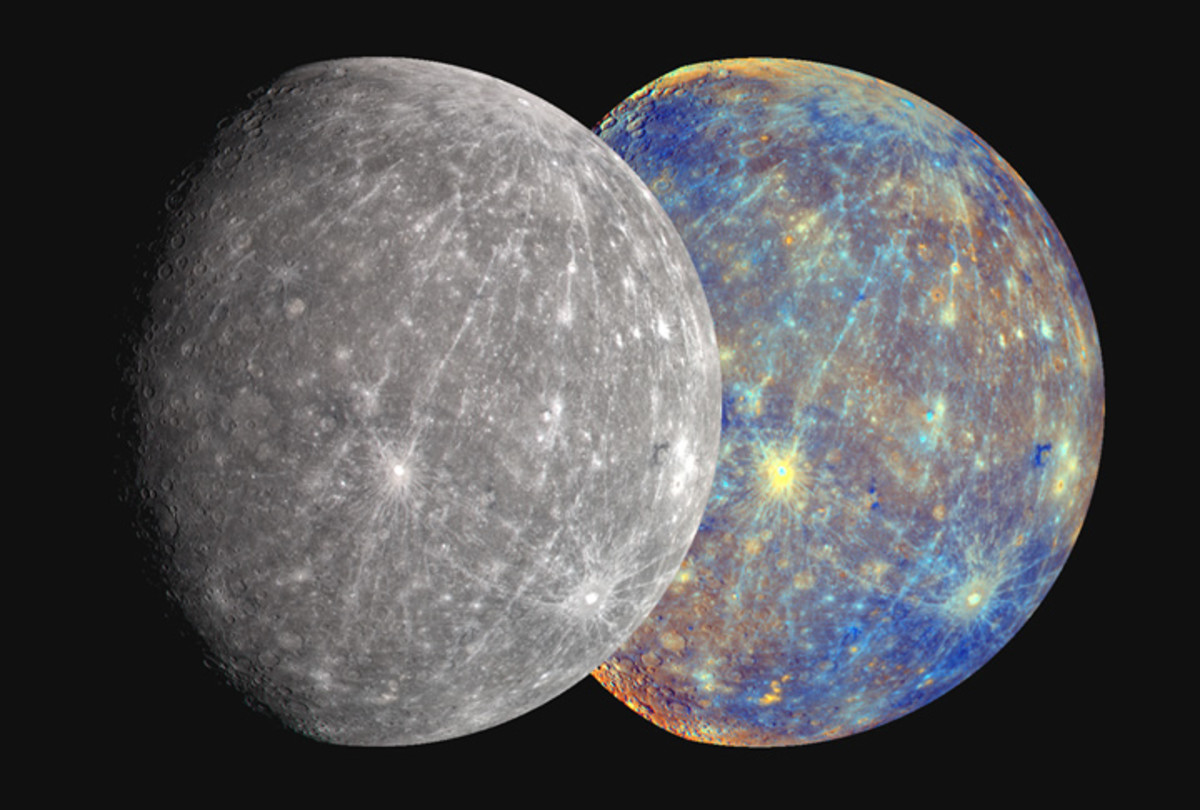 Right: Mercury MESSENGER spacecraft captures color in visible and near-infrared wavelengths. Left: NASA scientists adjust the original false-color inage to show colors to approximate what the human eye would see.