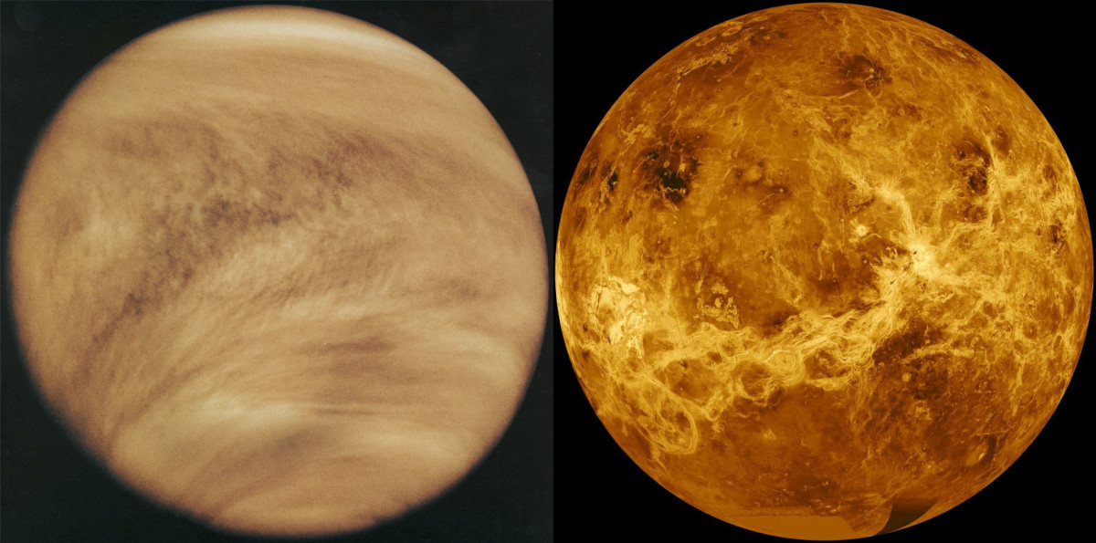Left: ultraviolet view of Venus by NASA Pioneer Orbiter, Feb. 26, 1979. Right: RADAR image of Venus by NASA Magellan Orbiter, early 1990s.