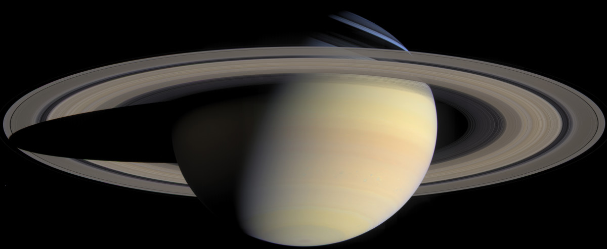 True-color photomosaic of Saturn assembled from 126 images taken by Cassini on the same day.