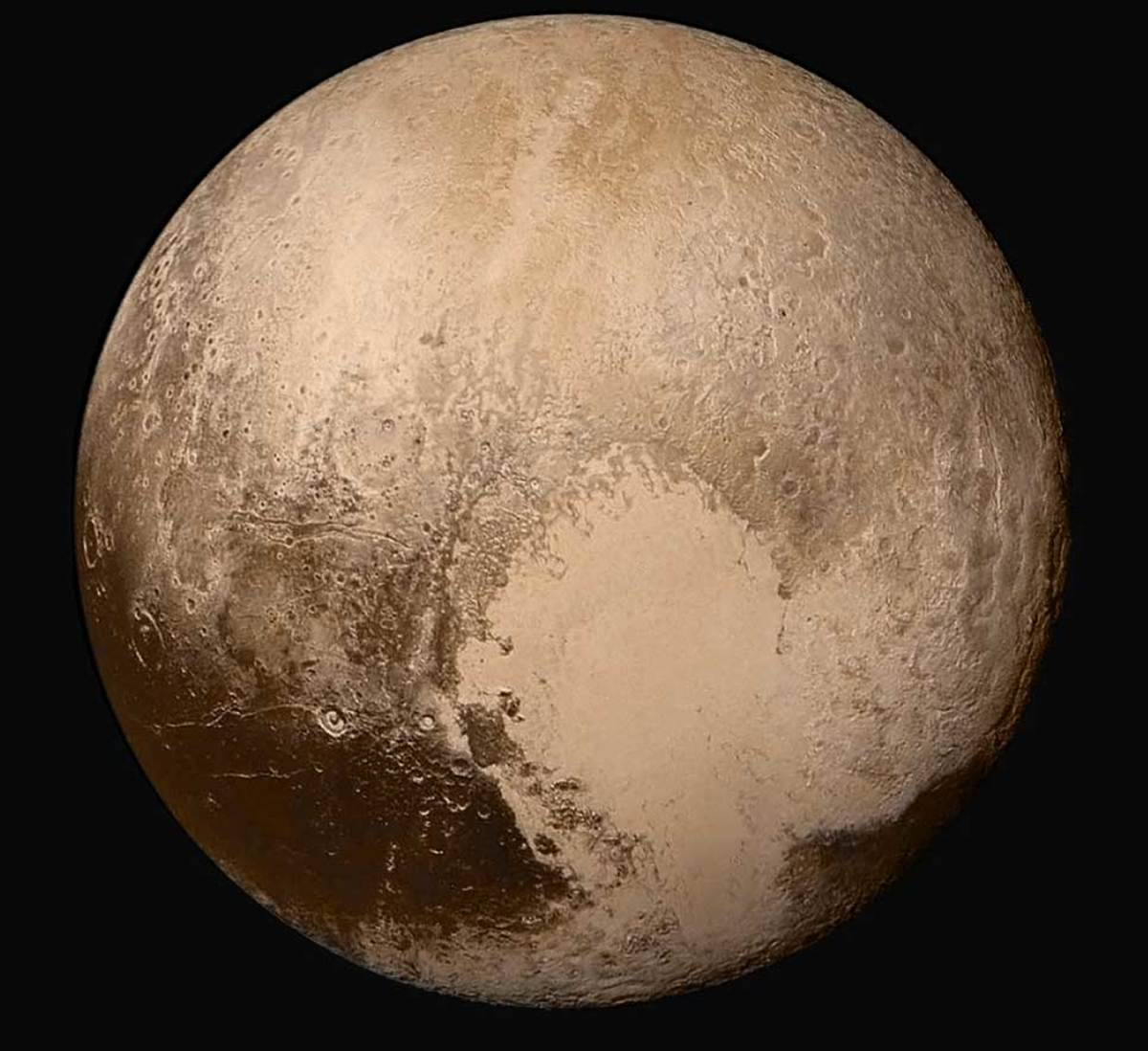 New Horizons' b&w hi-res camera combined with color data from its low-ras camera.