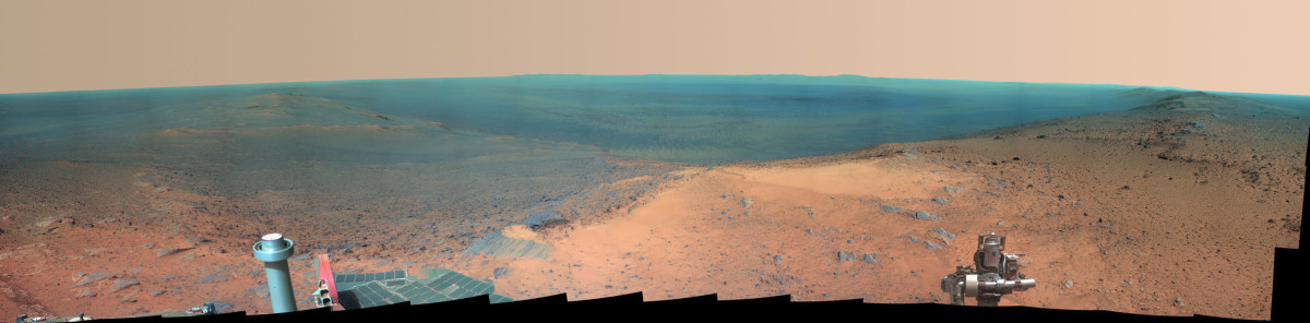 Mars Opportunity Rover panorama, January 2015. This is appoximately what this spot would look like under Earth lighting conditions. [NASA/JPL-Caltech/Cornell Univ./Arizona State Univ.]