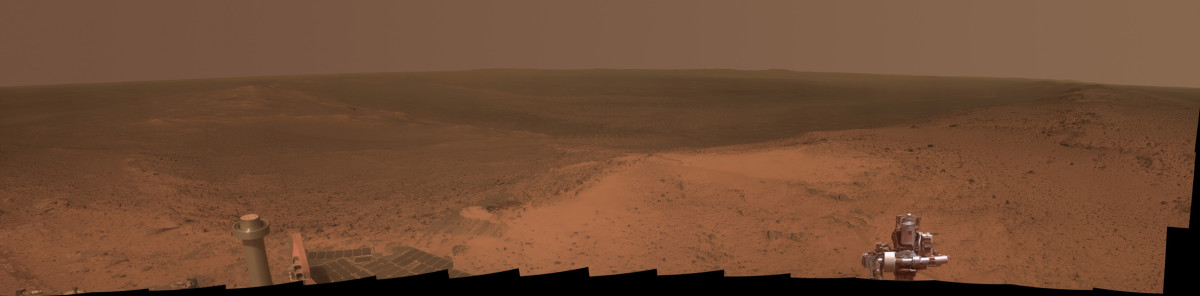 Mars Opportunity Rover panorama, January 2015. This is what it would look like if you were actually standing there. [NASA/JPL-Caltech/Cornell Univ./Arizona State Univ.]