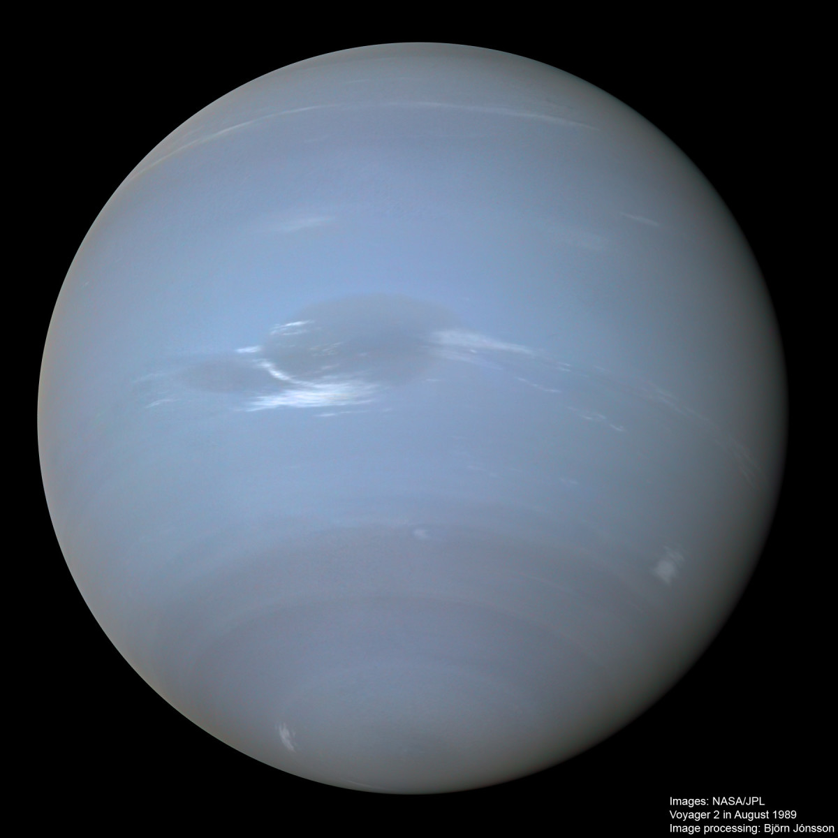 The clouds of Neptune: hydrogen, helium, methane. They race around the planet at 1300 mph/2100 kph.  © Björn Jónsson, (CC BY-NC-SA 3.0)