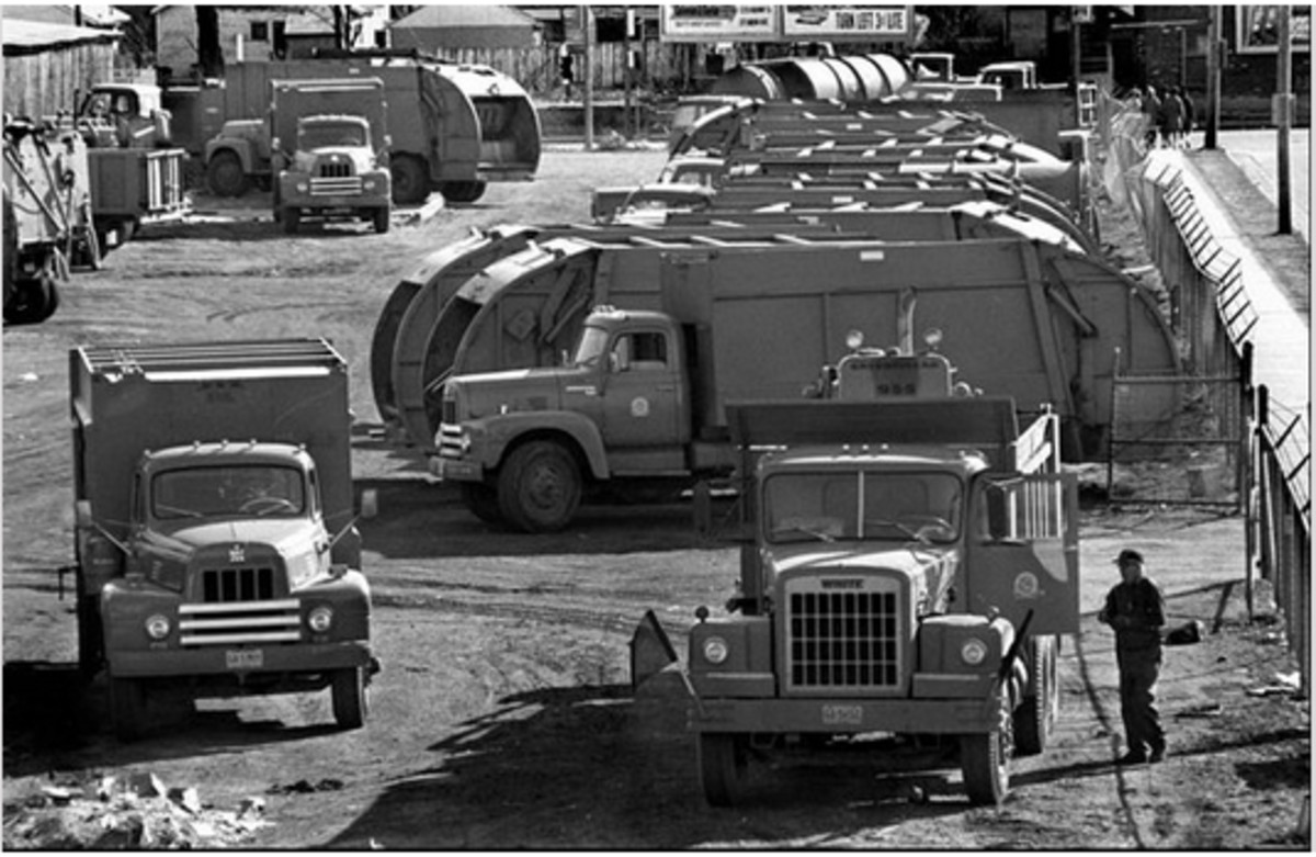On Feb. 12, 1968, the first day of the Memphis sanitation workers strike, the city's garbage trucks remained silent and unmanned.