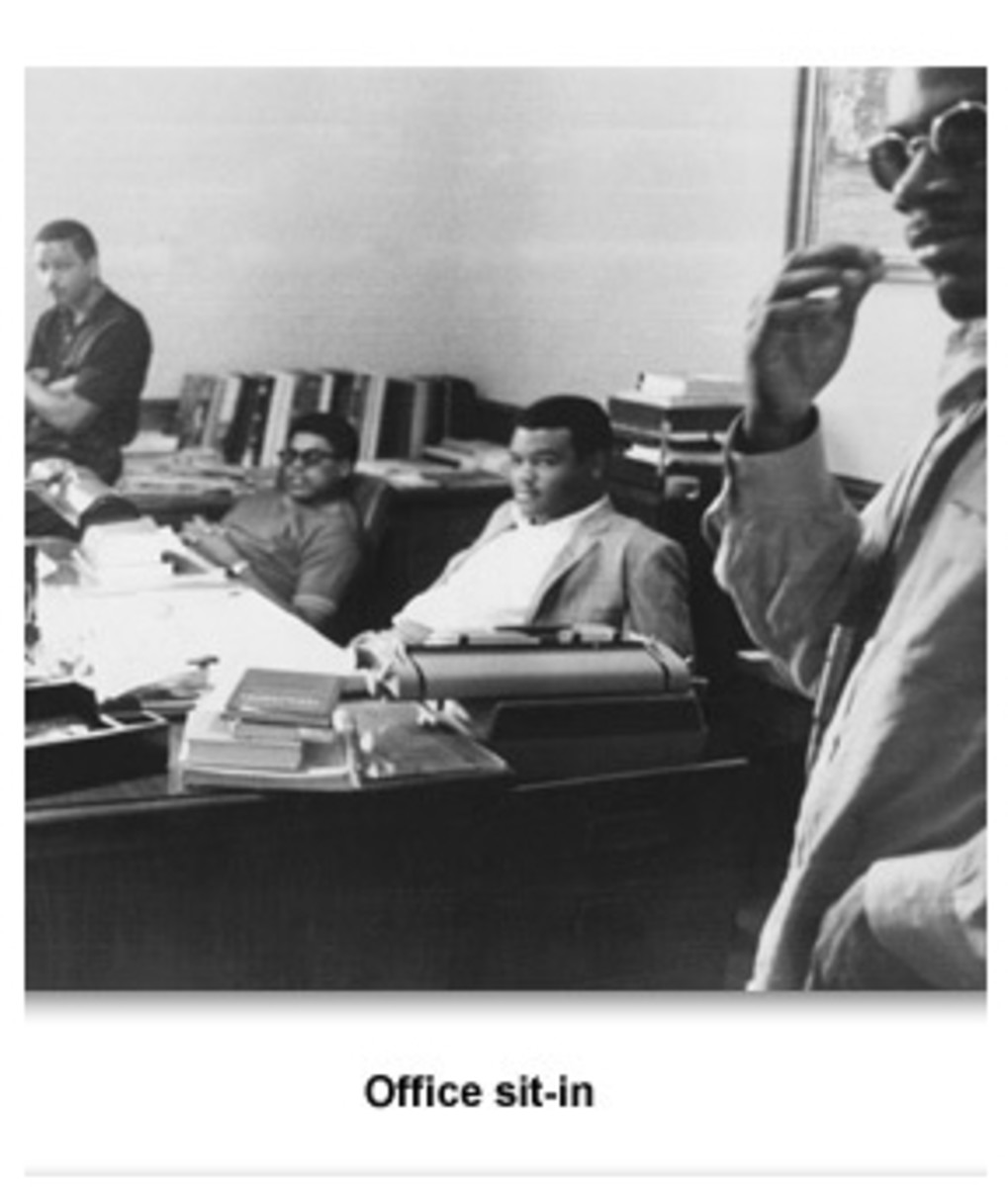 On April 28, 1969, more than 100 black and white students were arrested after a sit-in that took place in the office of President C.C. Humphreys of Memphis State University.
