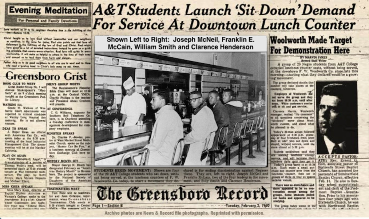 On February 1, 1960 four African American college students sat down at a lunch counter in Greensboro, South Carolina and politely asked for service.  Their actions started the peaceful sit-in protests.
