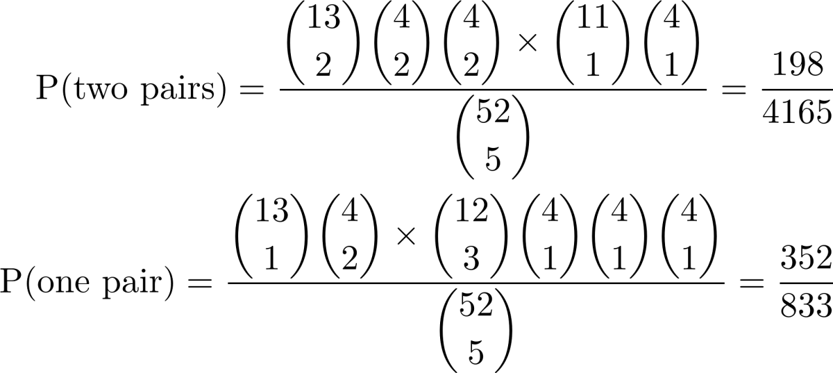 Probabilities of two pairs and one pair.