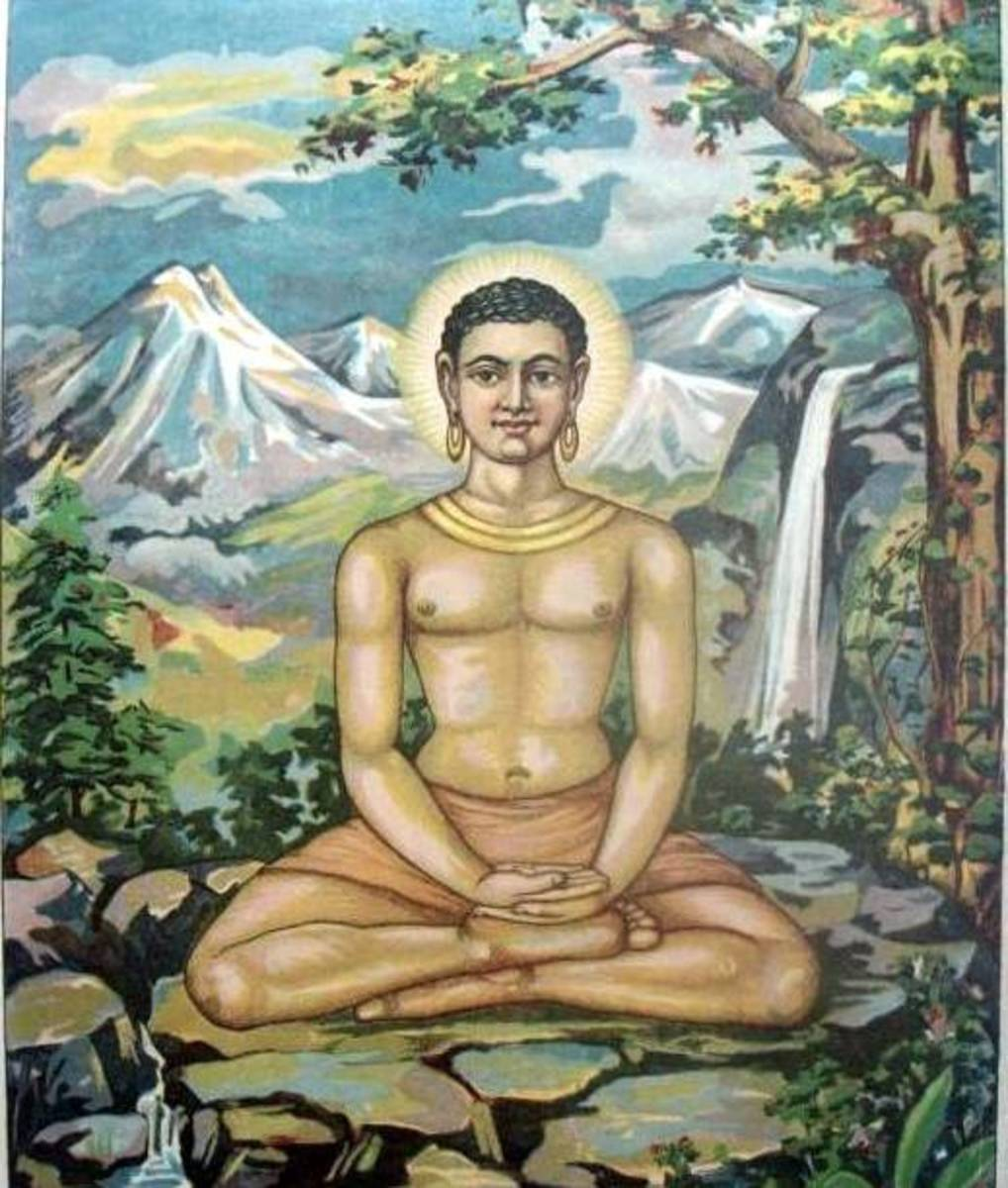 A depiction of Buddha meditating under the Bodhi tree.
