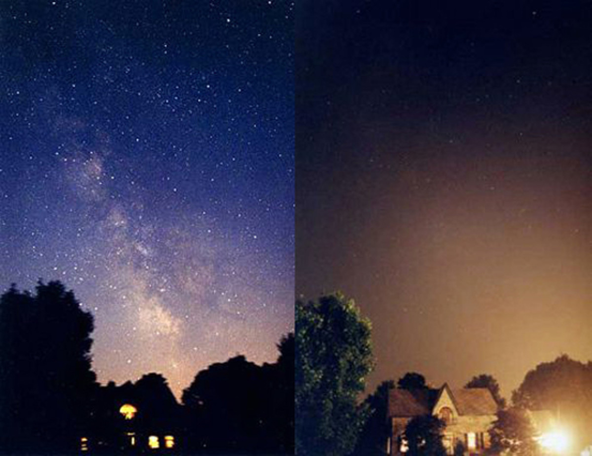 Comparing the clear vs. polluted sky.