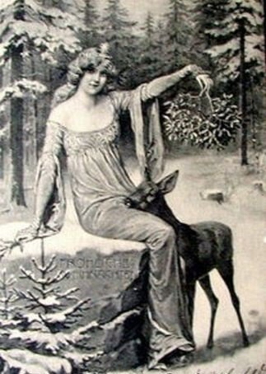Vintage image from a Winter Solstice greeting card.