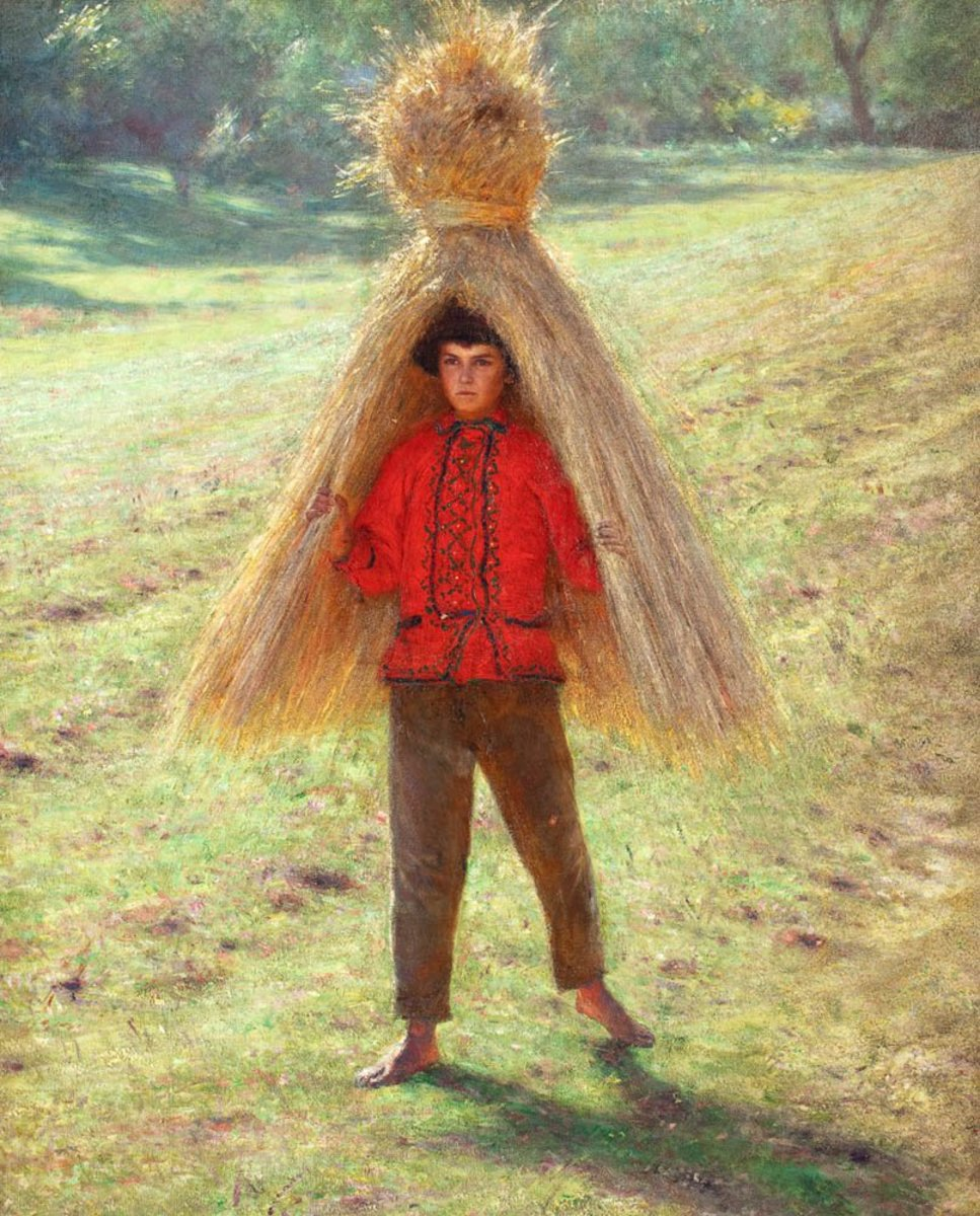 Traditions regarding the last sheaf of grain are wide spread across Europe. A boy carrying a sheaf of grain, by Aleksander Gierymski 1895.