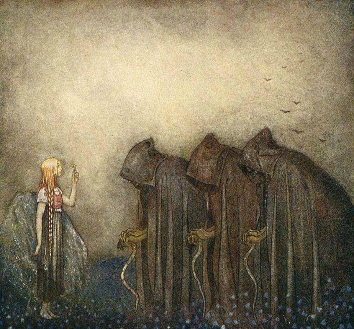 This illustration by John Bauer reminds me of the Cailleach due to her association as a goddes with many incarnations. She was mainly known as a hag, but had periods of youth.