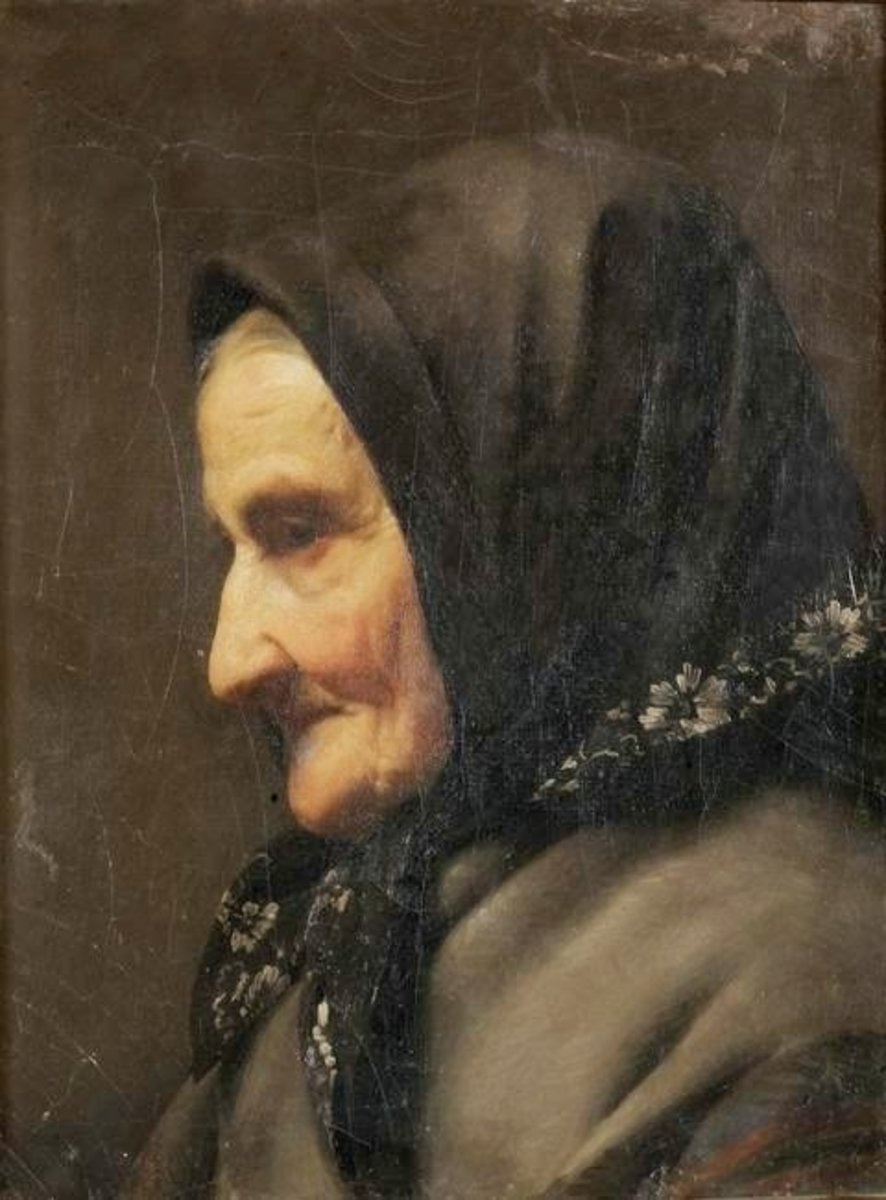 Portrait of an old woman. By Nikolaos Kounelakis, 19th century.