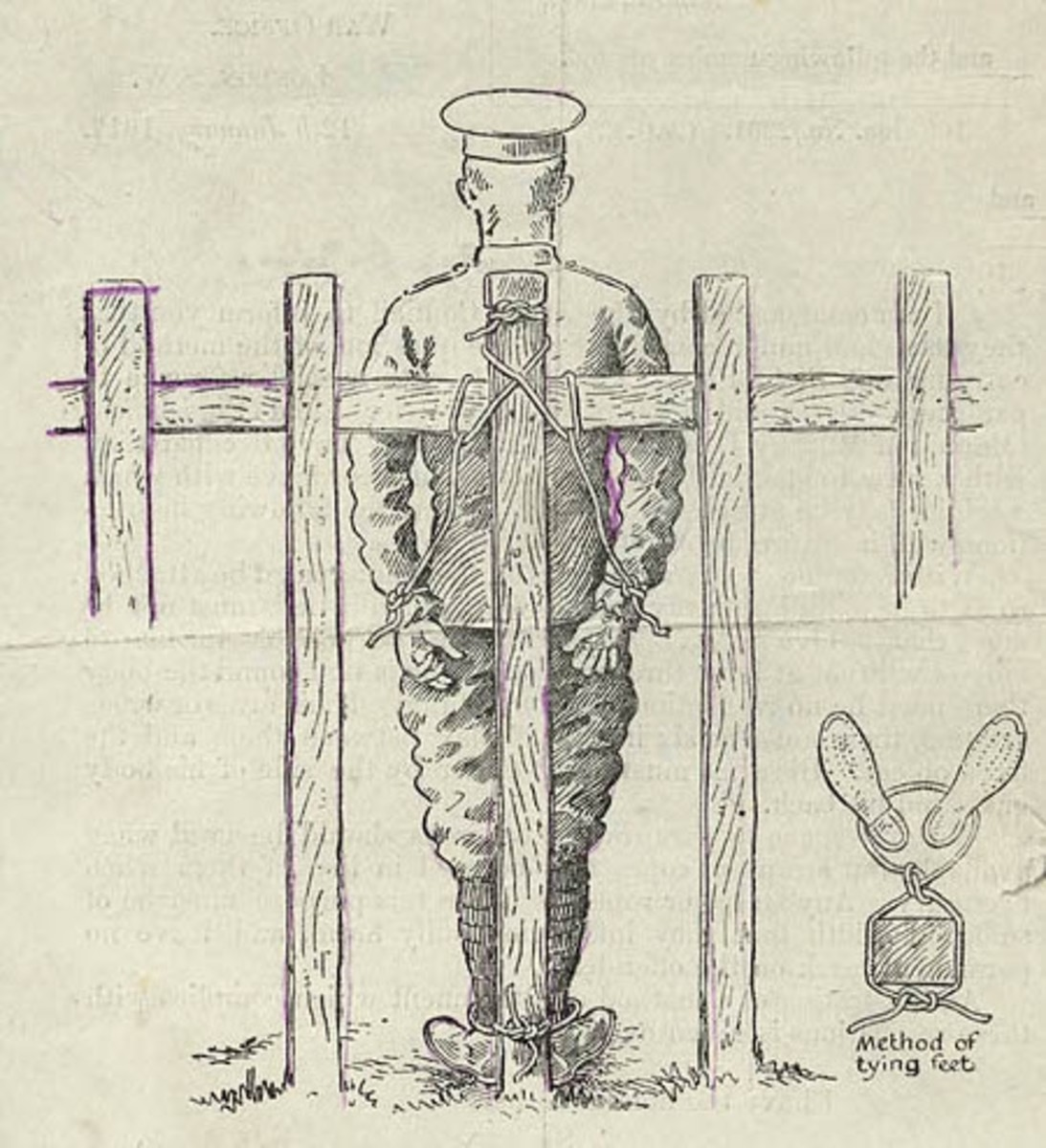 Illustration of Field Punishment Number One. The prisoner is tied to a stationary object, often times a gun carriage wheel and sometimes within enemy artillery range.