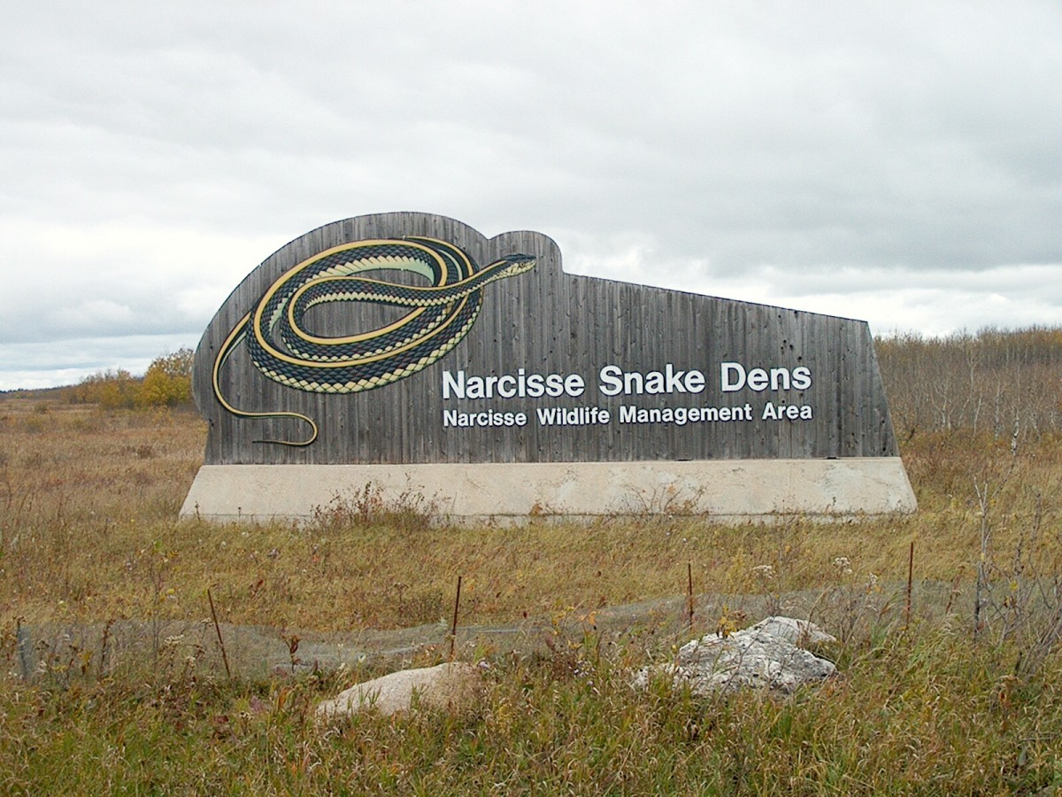 The Narcisse Snake Dens sign in September