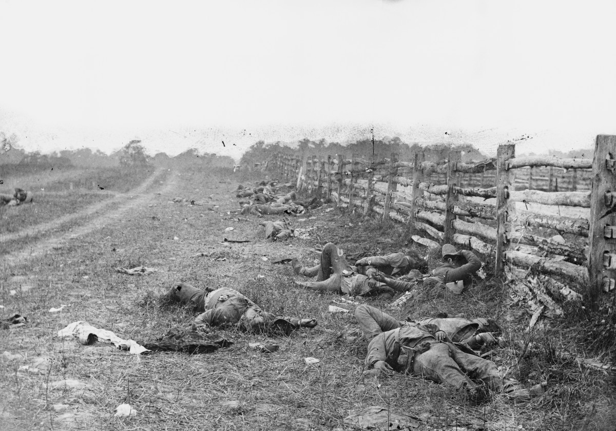 Confederate dead by a fence at the Hagerstown Turnpike, looking north; the Turnpike is to the right of the fence, the dirt lane on the left leads to the farm of David Miller.