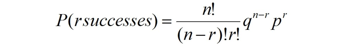 Equation for binomial distribution
