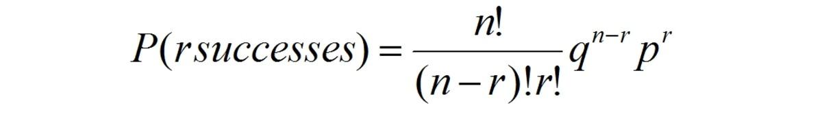Equation for binomial distribution
