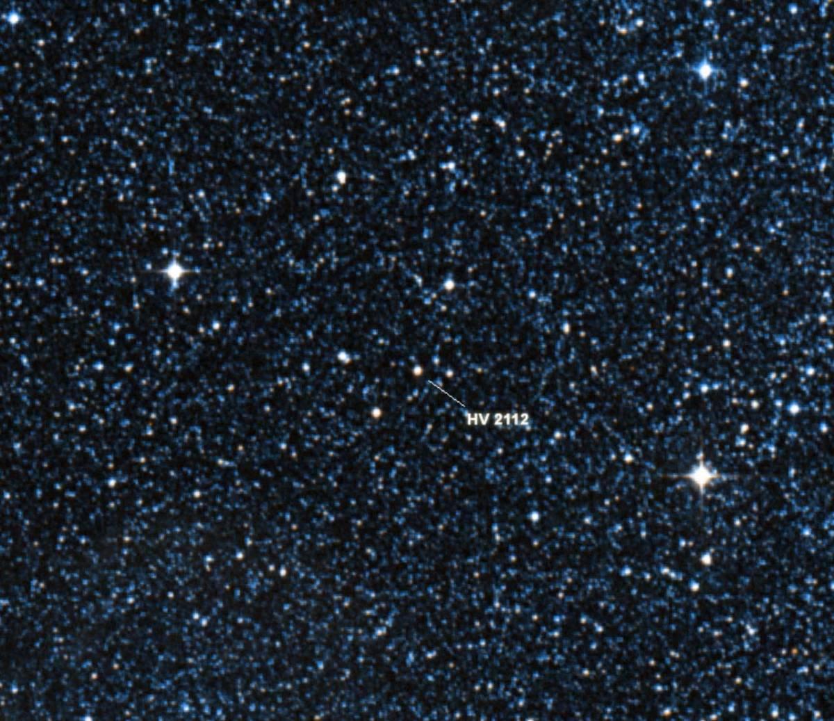 Star HV 2112.  Image credit: Digital Sky Survey / Centre de Données astronomiques de Strasbourg.