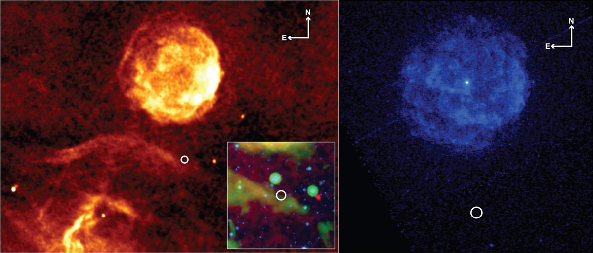 This pulsar was located inside the white circle but after shining for a year it disappeared. The left image was provided by the Multi-Array Galactic Plane Imaging Survey, the right by CHANDRA.  Credits: Shami Chatterjee
