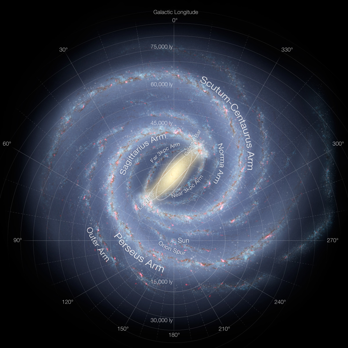 The Spiral Arms of Our Milky Way Galaxy. This unique pulsar lies in the Scutum-Centaurus Arm. (Click to enlarge)