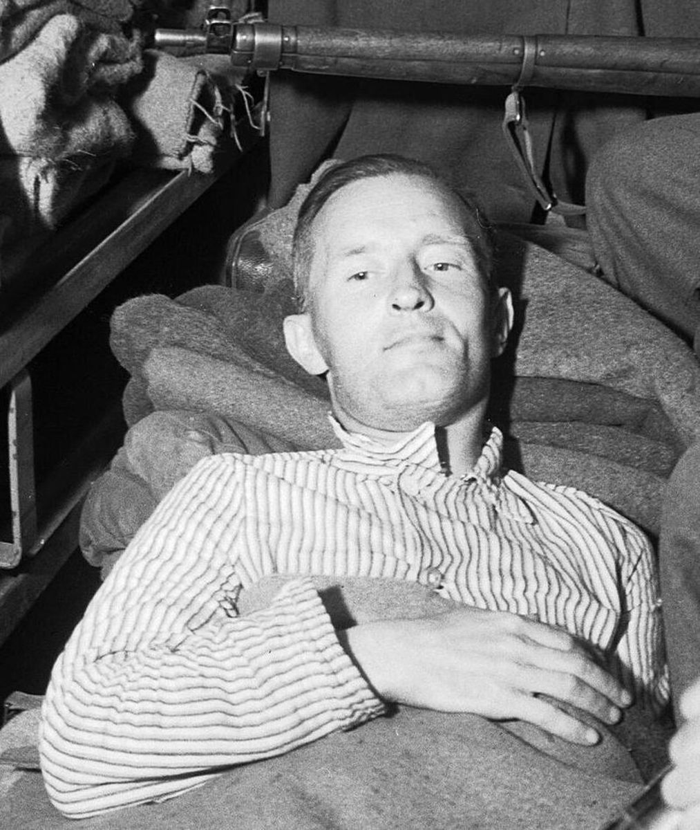 William Joyce after his capture nursing what must have been a painful backside.