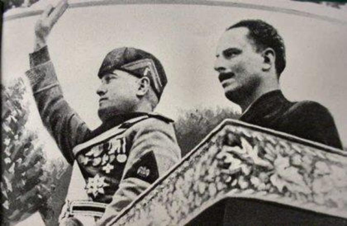 Mosley (right) with his hero Mussolini.