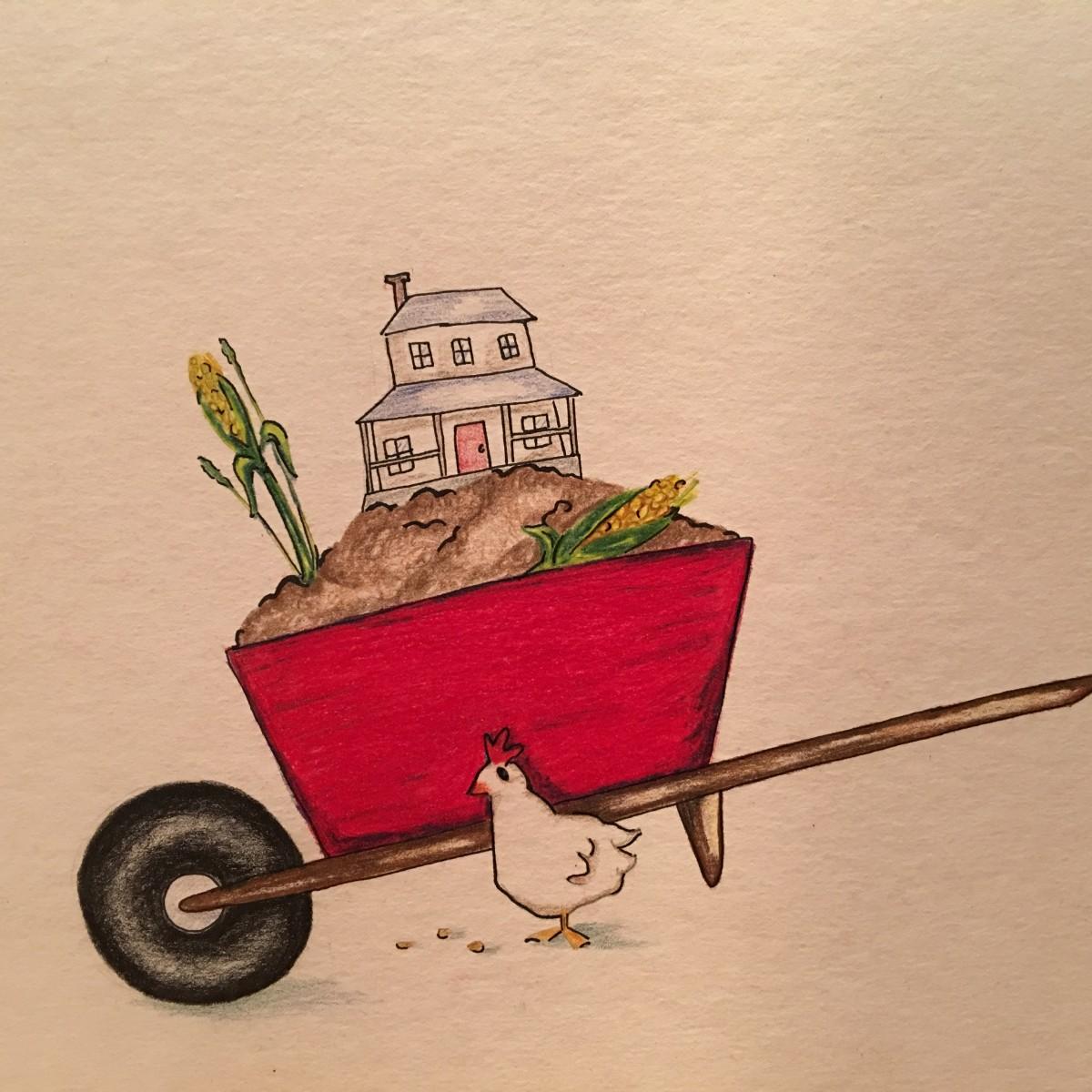 "Art student's interpretation of Williams' ""The Red Wheelbarrow"""