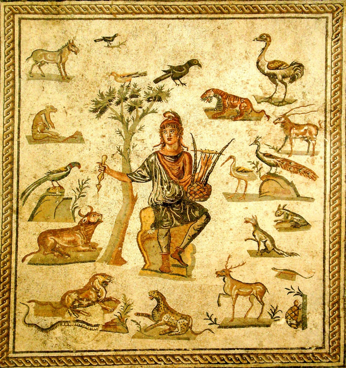 An Ancient Roman depiction of Orpheus and the animals that he has charmed