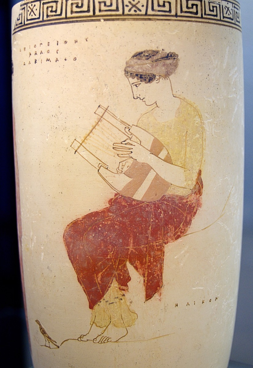 An illustration on a vase showing a muse playing a lyre; dates from 440-430 BC