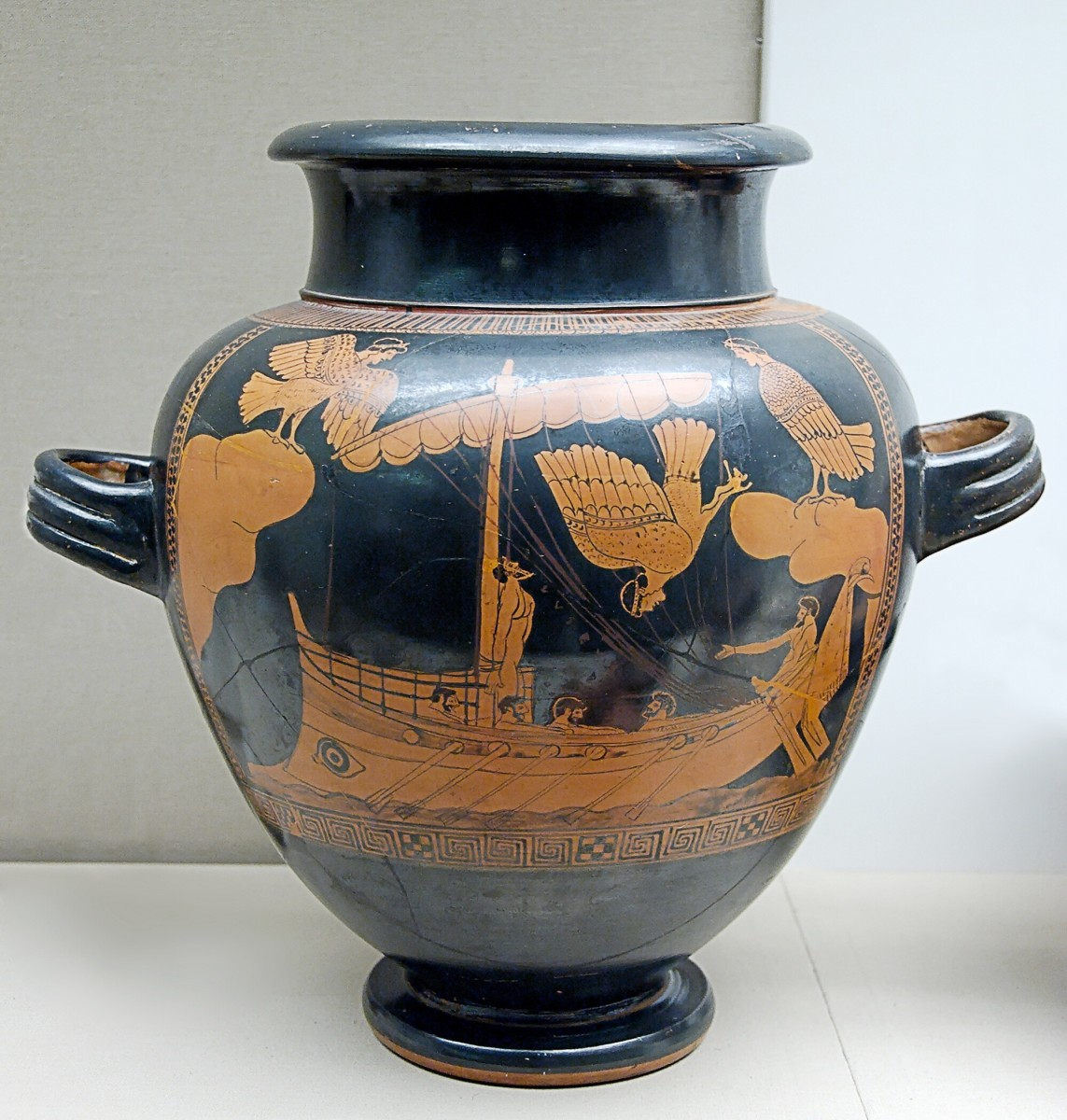 The Sirens' beautiful song lured men to their death. The decoration on this vase (480-470 BC) shows Odysseus, his crew and the Sirens.