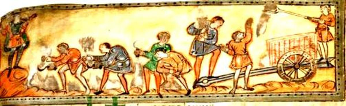 Anglo-Saxons mowing the hay meadow.