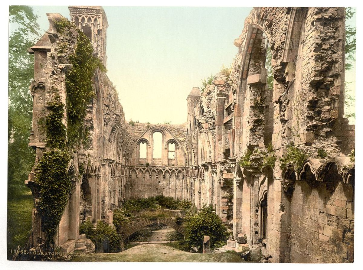 Glastonbury Abbey, circa 1900.