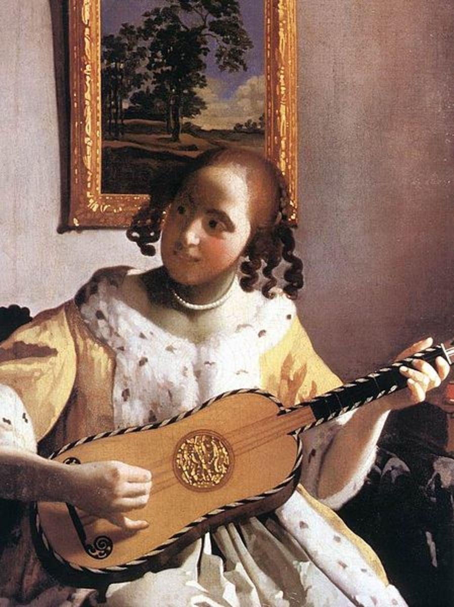 The Guitar Player by Johannes Vermeer that Nella Jones said would be found in a graveyard, where it was indeed located.