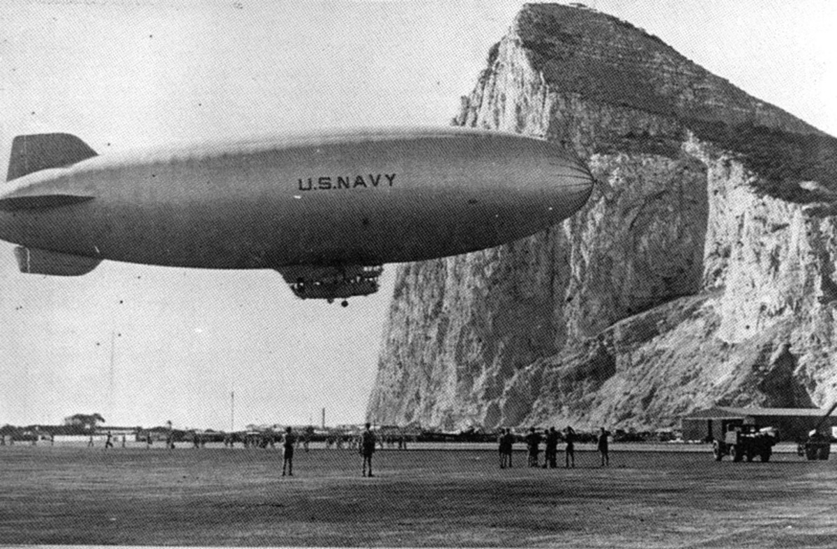 US Navy K-class airship at Gibraltar, 1944. 1400-foot Rock of Gibraltar in background.