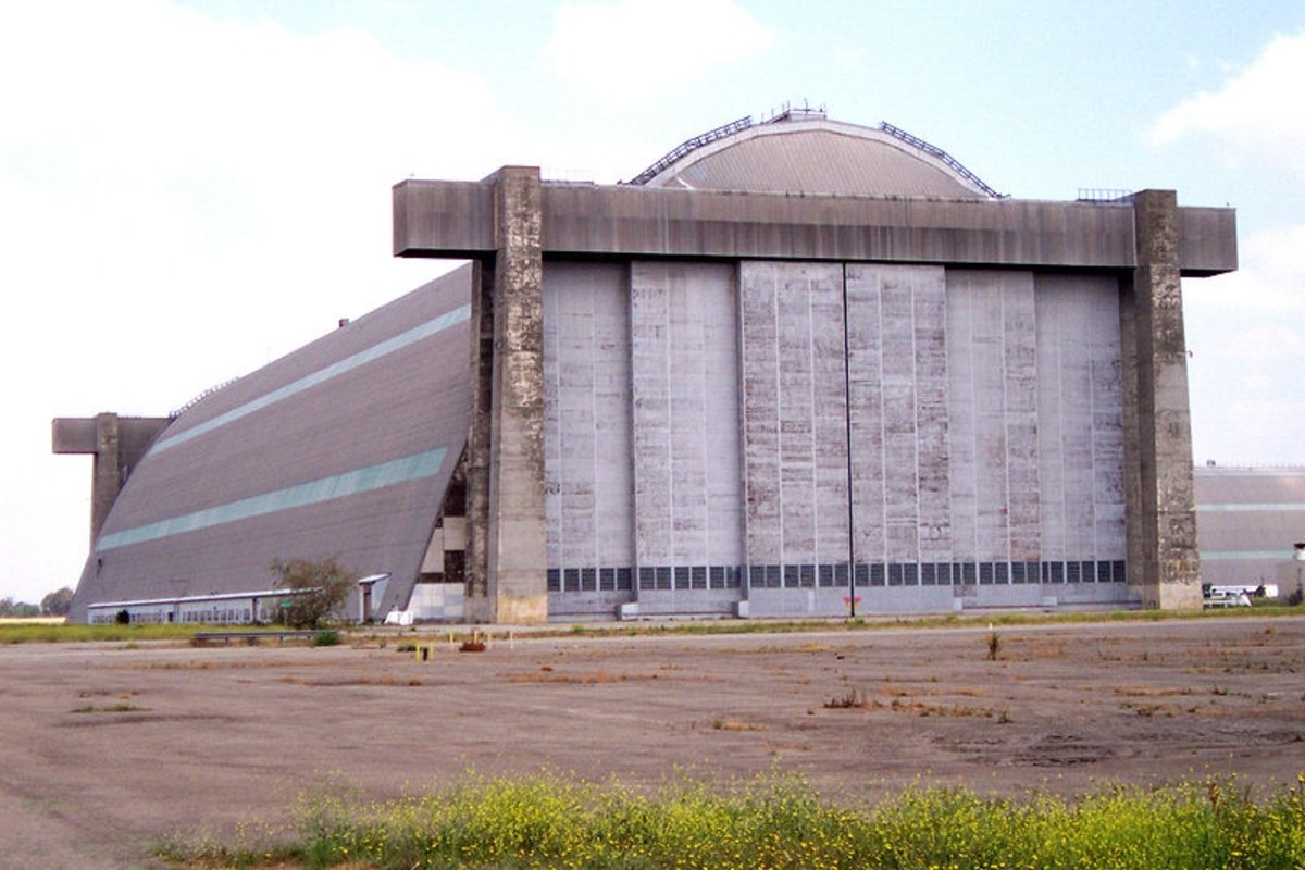 Exterior of Hanger 2 near Tustin, CA. Built 1942. One of the largest free-standing wooden structures in the world.