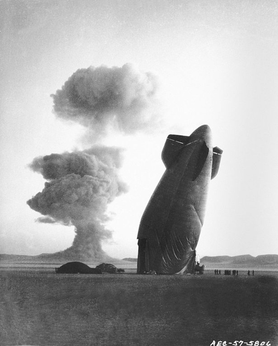 US Navy K-class ZSG-3 airship collapsed from the shockwave more than five miles from ground zero. Nevada August 7, 1957