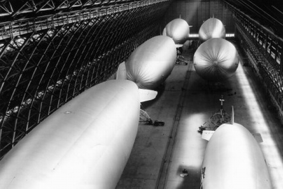 Massive Hanger No. 2 near Tustin, California with six airships. Each airship is nearly 250 feet long.
