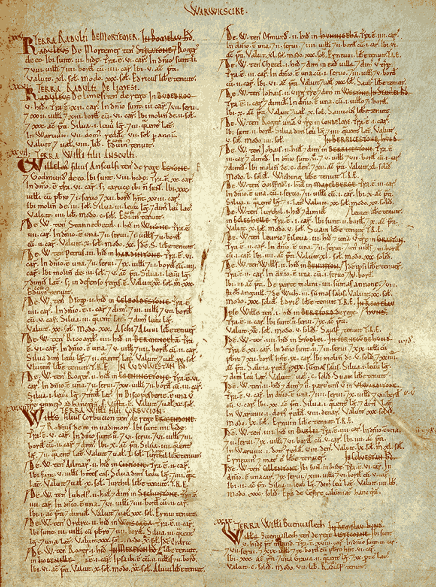 A page from the Domesday Book for Warwickshire.