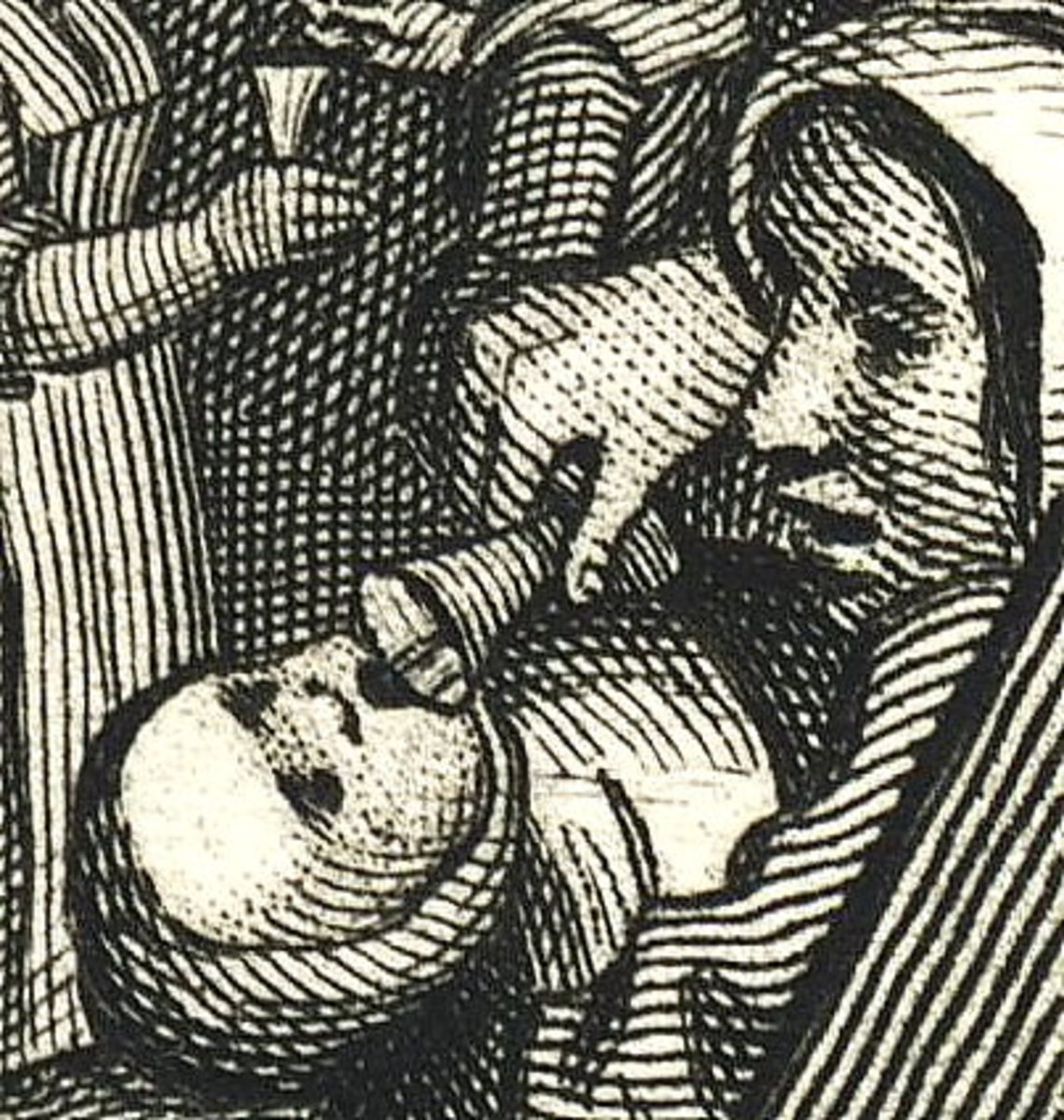 A detail from Gin Lane in which a mother pours gin into her infant's mouth.