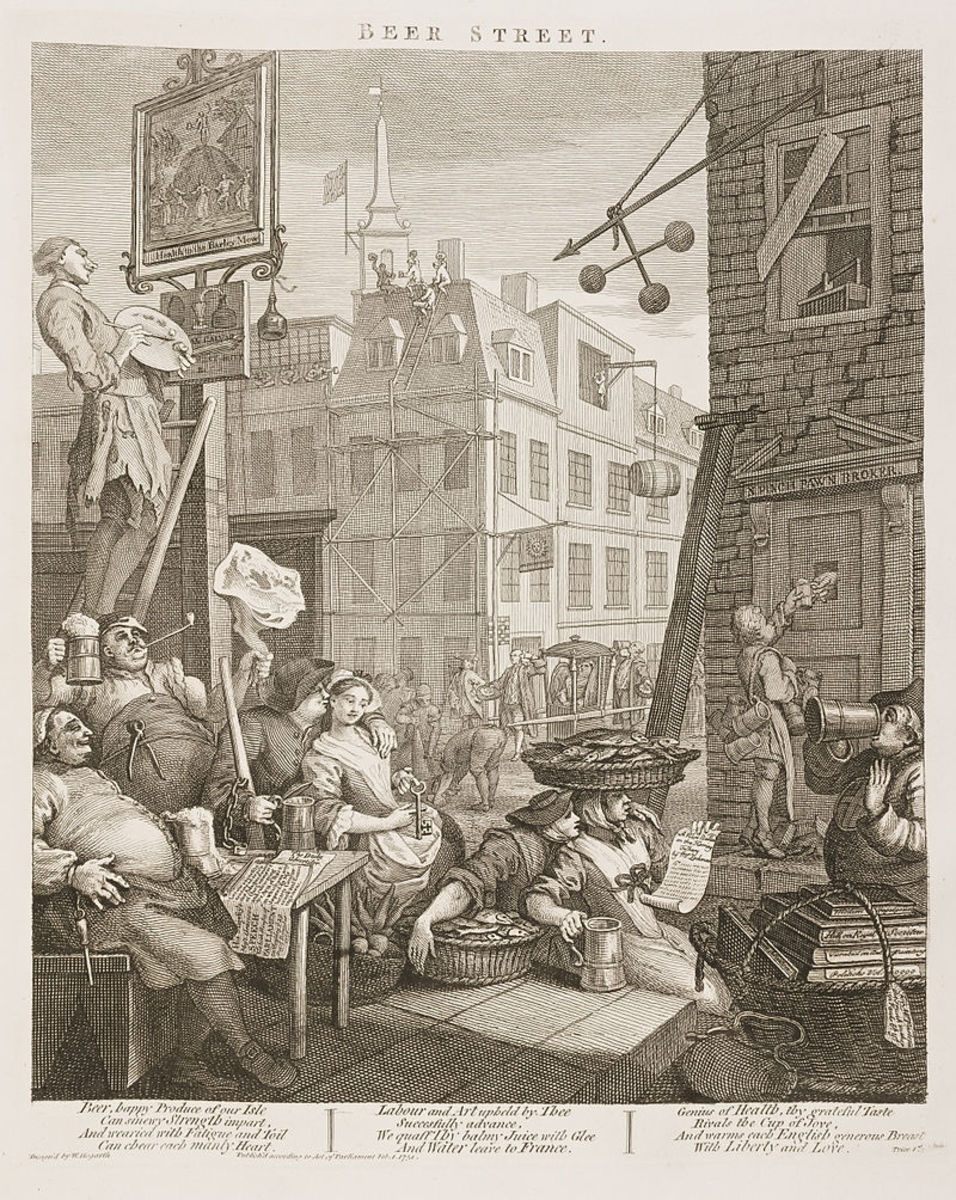 William Hogarth was also opposed to beer swilling.