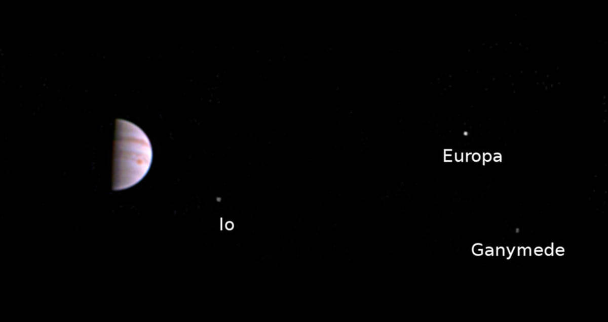 First image returned to Earth from Juno. Three of the four moons are shown.