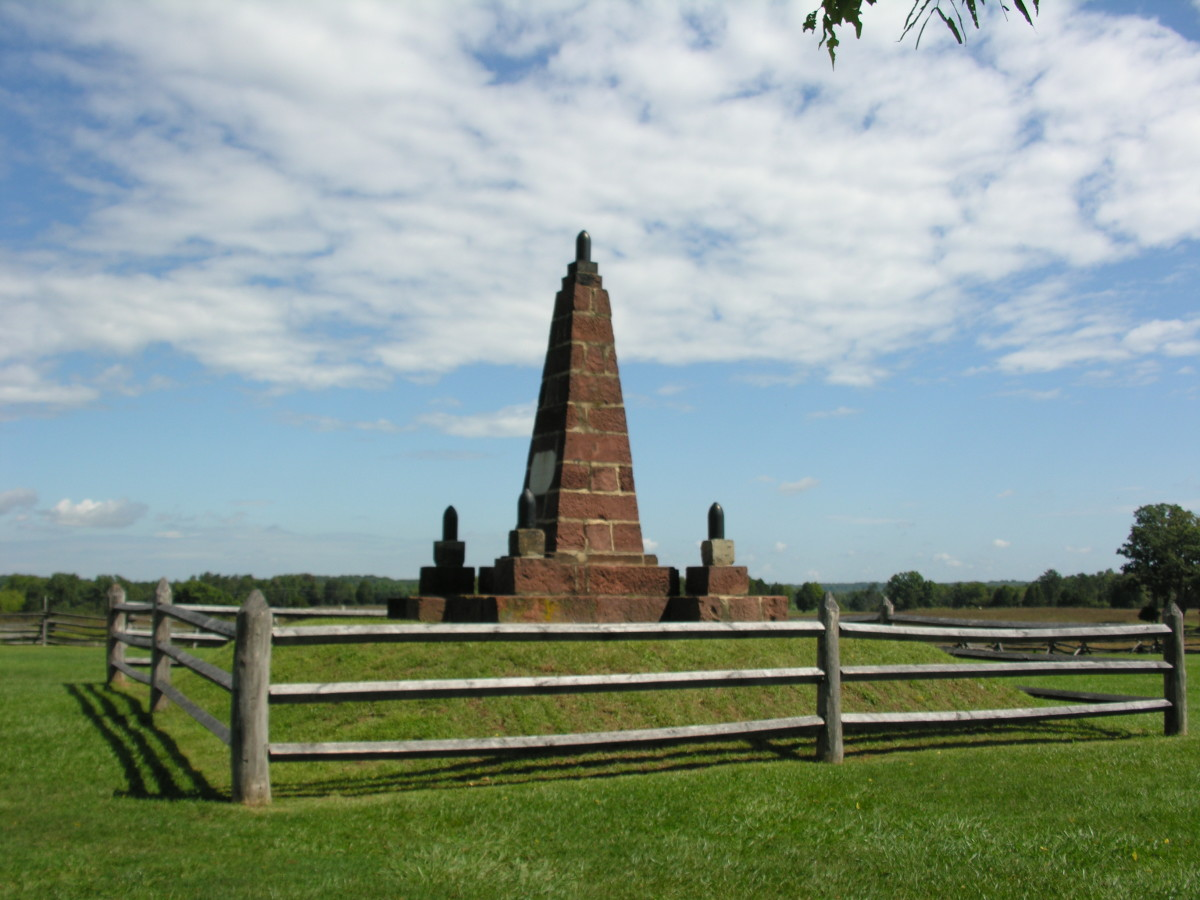 A monument at the Manassas National Battlefield.
