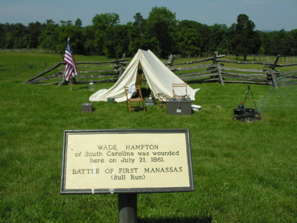 A demonstration of an encampment on May 26, 2018.  It is on the spot where Wade Hampton of the Confederate Army was wounded.  It is not a reenactment.  Reenactments are prohibited on the Bull Run Battlefield.