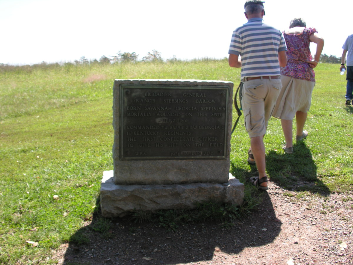 A monument marking the spot where Brigadier General Francis Stebbings Bartow was mortally wounded.