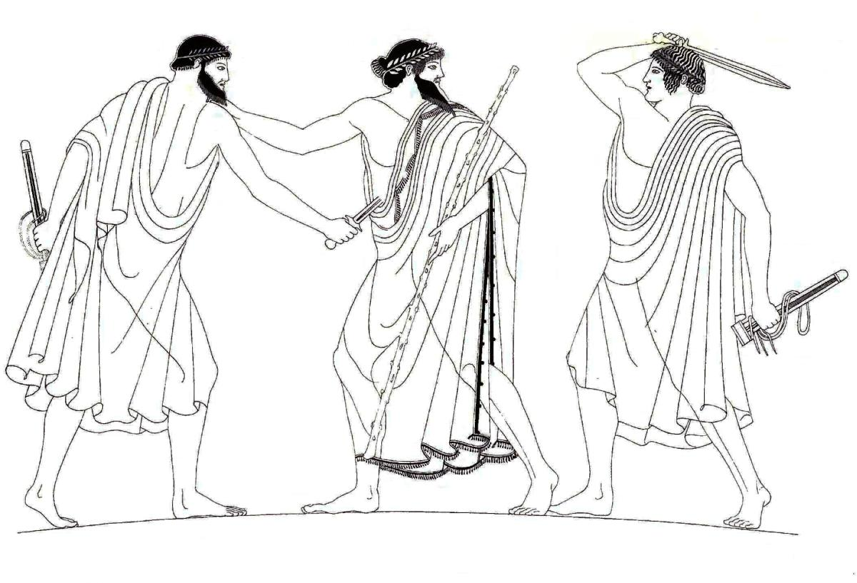The assassination of Hipparchus by Harmodius and Aristogiton.