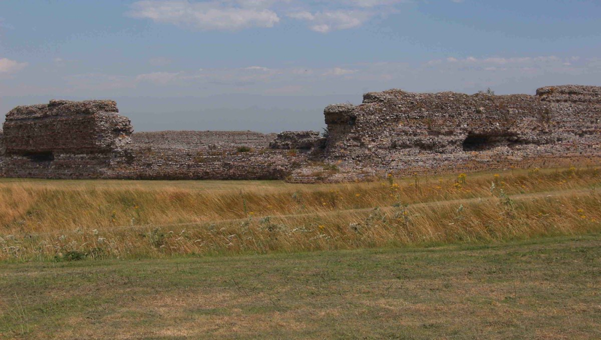 The perimeter walls of Fortress Richborough today - The southwestern corner of the Saxon Shore fort and the outer perimeter ditches date to the late 3rd century